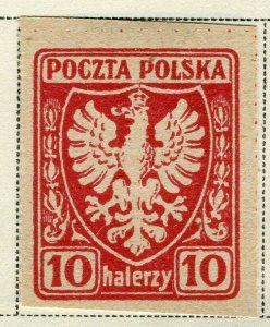 POLAND; 1919 early Imperf issue fine Mint hinged 10h. value