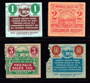 US TAX STAMP STATE OHIO PREPAID SALES TAX PAID STAMP COLLECTION LOT