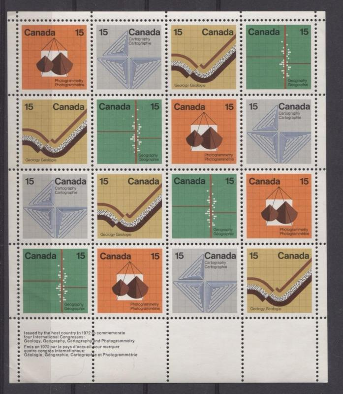 Canada #585a 1972 Earth Sciences Field Stock Sheet MF/MF Paper - VF-84 NH