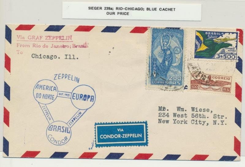 BRAZIL TO USA 1933 ZEPPELIN COVER, RIO-CHICAGO, BLUE CACHET, Si#239a