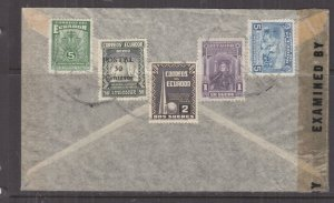 ECUADOR, 1944 Censored Airmail cover, Guayaquil to USA, 5c.(2), 50c., 1s., 2s.