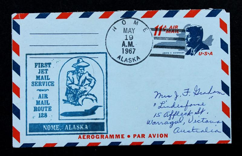 First Jet Air Mail Route 128 Nome Alaska First Flight Cover on #UC38 Aerogramme