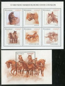 MOZAMBIQUE  HORSES SHEET & S/S MINT NEVER HINGED