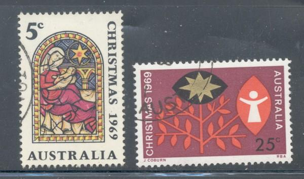 Australia Sc 466-7 1969 Christmas stamp set used