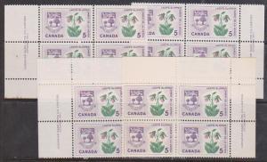 Canada - 5c Lady's Slipper Plate Blocks VF-NH #424i