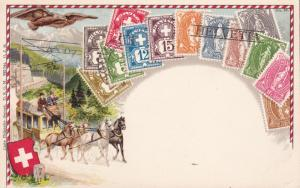 Switzerland c1940 Mint Color Post Card With Swiss Stamps. Souvenir Nice Image.
