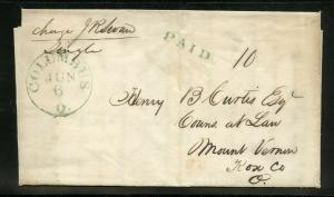 UNITED STATES 1837 COLUMBUS OH  STAMPLESS  COVER BLUE PAID 10 QUESTIONING A DEBT