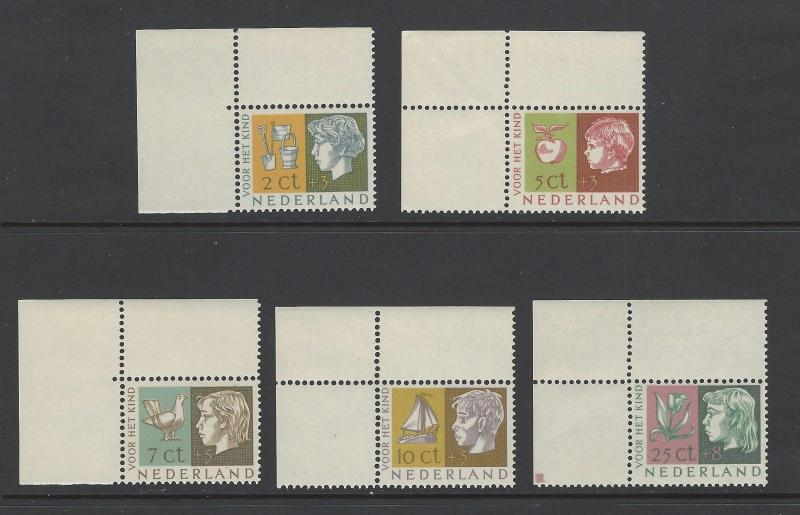 Netherlands 1953 Children Flower Apple Pigeon VF MNH (B259-63)