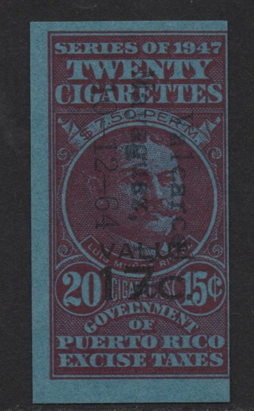 $US/Puerto Rico 1947 Cigarette Revenue 20 @ 15c, 17c o/p