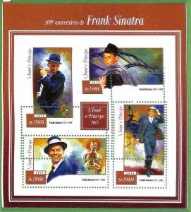 A3524-Sao Tome & Principe ERROR MISSPERF 2015  music cinema Frank Sinatra