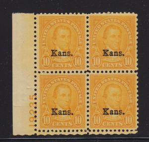 668 Plate Block VF-XF OG lightly hinged with nice color cv $ 375 ! see pic !