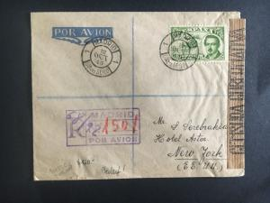 1945 madrid Spain to USA First Day Cover # C118 Registered Censored
