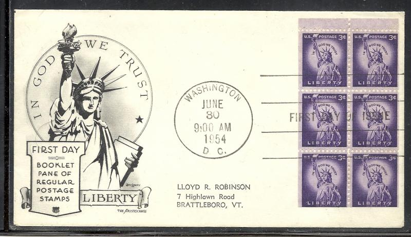 US #1035a Statue of Liberty booklet pane HOF cachet addressed fdc