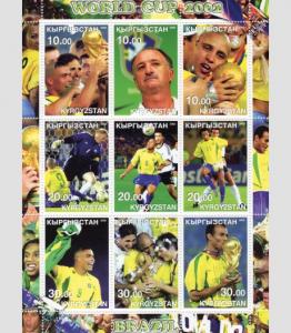 Kyrgyzstan 2002 Football Brazil 2002 Sheet Perforated mnh.vf