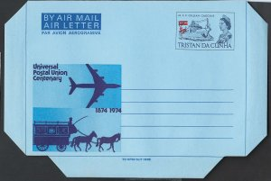 Tristan 1974 5p on 9d UPU airletter unused, nice ship thematic