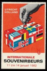 NETHERLAND INTERNATIONAL SOUVENIRS FAIR 11-14 JAN 1982 POSTER LABEL CINDERELLA