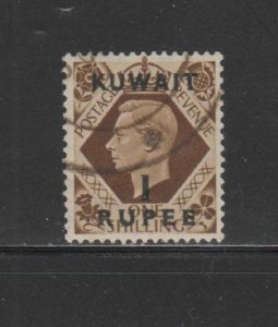 KUWAIT #79  1948  1r on 1sh   KING GEORGE VI SURCHARGED   F-VF  USED  k