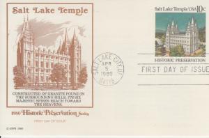 1980 Salt Lake Temple Post Card (Scott UX83) FDOI Fleetwood