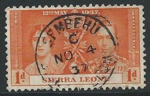 SIERRA LEONE 1937 SEMBEHU cds on 1d Coronation.............................45825