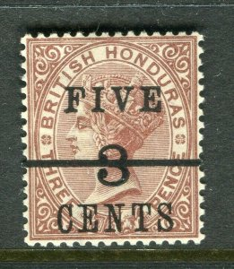 BRITISH HONDURAS; 1891 surcharged QV issue Mint hinged Shade of FIVE 3 CENTS