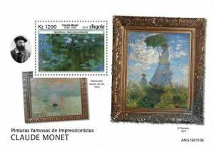 Z08 IMPERF ANG190110b ANGOLA 2019 Impressionist Paintings MNH ** Postfrisch