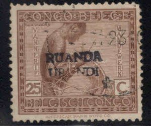 Ruanda-Urundi Scott 11 with a handstamp overprint