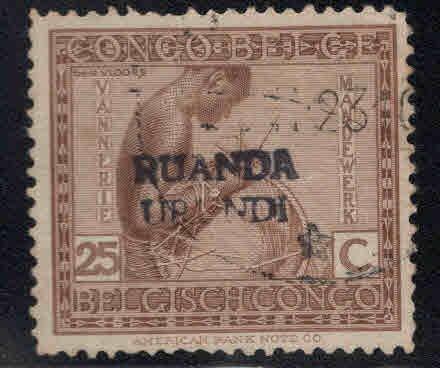 Ruanda-Urundi Scott 11 with a handstamp overprint