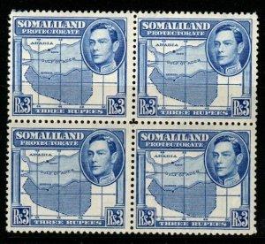 SOMALILAND SG103 1938 3r BRIGHT BLUE BLOCK OF 4 MNH