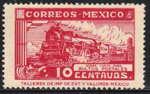MEXICO Q3, 10cents PARCEL POST, STEAM ENGINE. UNUSED, H OG. VF