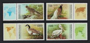 Burkina Faso Falcon Peacock Goose Pelican Birds 4v with labels MI#1406-1409