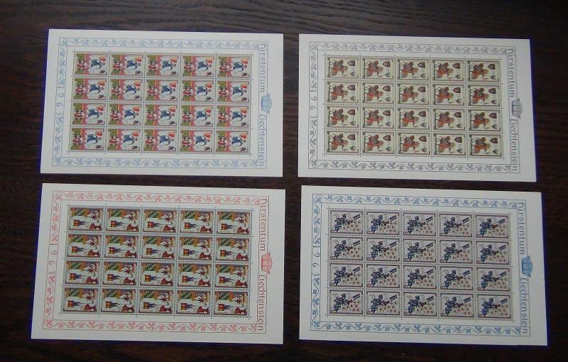 Liechtenstein 1963 Minnesingers 3rd issue in complete sheets of 20 MNH