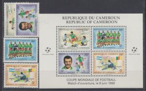 Cameroun Sc 848-851a MNH. 1990 World Soccer Championship + Souv Sheet