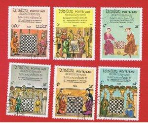 Laos #538-543  VF used  Chess  short set   Free S/H