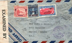 GUATEMALA WW2 Cover Bermuda CENSOR Hamilton HOTEL BERMUDIANA 1942{samwells}LS169