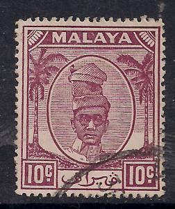 Malaya Perak 1950 - 56 10ct Purple Used SG 136. ( E883)