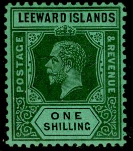 LEEWARD ISLANDS SG87, 1s black/emerald, VLH MINT. Cat £60. WMK SCRIPT. DIE I.