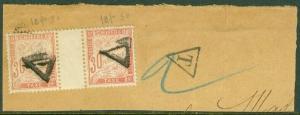 EDW1949SELL : FRANCE 1894 Scott #J35 Used Gutter pair on piece. Catalog $170++