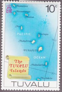 Tuvalu 29 Map of Tuvalu Islands 1976
