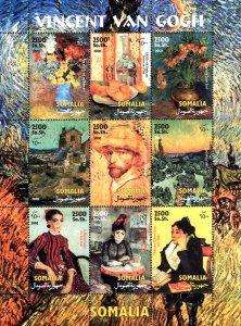 Somalia 2002 Famous Paintings by Vincent Van Gogh 9v Mint Full Sheet. (L-153)