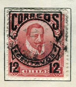 CHILE;   1904 CORREOS Optd. + surcharged issue used 12c. value