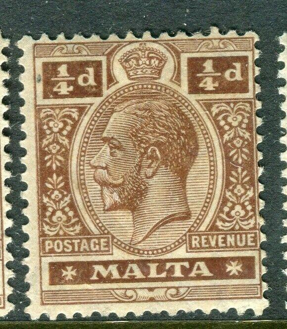 MALTA; 1914-21 early GV issue fine Mint hinged shade of 1/4d. value