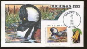 1993 Lansing Michigan Hooded Merganser Milford Hand Painted Cover FDC Stamp #18