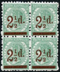 South Australia SG229 2 1/2d on 4d Pale Green U/M Block