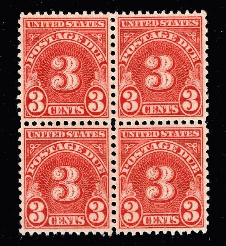 US STAMP #J82 3c Postage Due 1931 BLK of 4 MNH/OG STAMPS