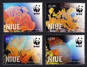Niue WWF Giant Sea Fan Corals 4v SALE BELOW FACE VALUE