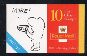 Great Britain Sc 1652a 1996 Greetings Cartoons stamp booklet mint NH