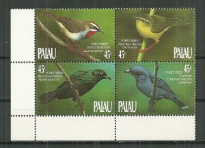 1990 Palau 231-4  Birds of the Forrest MNH block of 4