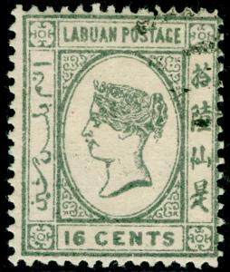 LABUAN SG56, 16c grey, FINE USED.