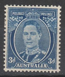 AUSTRALIA 1937 KGVI 3D BLUE DIE III