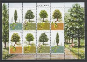 Moldova 2018 Nature, Trees 8 MNH stamps sheet